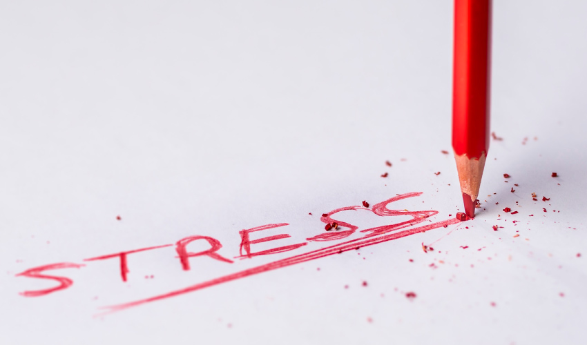 stress written in red pencil