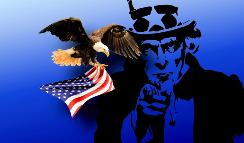 uncle sam pointing with an eagle flying by